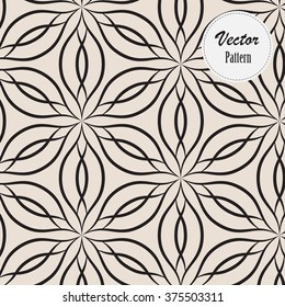 Vector pattern. Monochrome ornament with abstract flower
