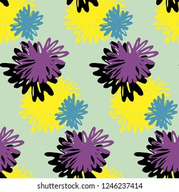 Vector pattern, multicolored flowers, asters on a green background.