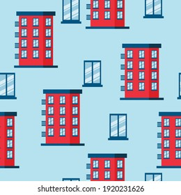vector pattern with multi-storey houses and windows. flat pattern image with red house and blue windows