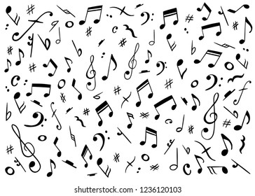 Vector pattern with music notes