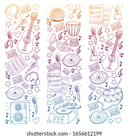 Vector pattern with musical intstruments. Rock, jazz, disco, karaoke. Modern and classic music. Doodle style icons.