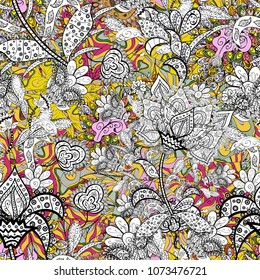Vector pattern. Nice Floral pattern in the small flower. Seamless floral pattern with flowers, watercolor.