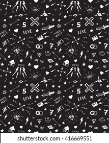 Vector pattern with old school tattoo elements. Black and white.