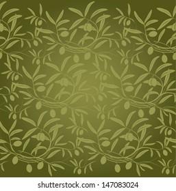 Vector pattern olive branch on vintage paper.For labels, packaging.