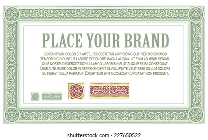 Vector pattern on the basis of Byzantine ornaments for design, creating borders, frames and backgrounds