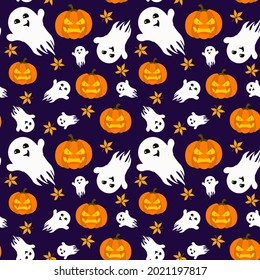 vector pattern on the theme of Halloween. Angry pumpkin with autumn leaves and ghosts on a dark purple background