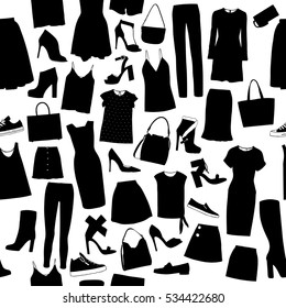 Women Fashion Clothes Set Sketches Silhouettes Stock Vector Royalty