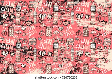 vector pattern with pictures on the theme of England. Caption London. For those who like to travel. It can be used for packaging, invitations, postcard holiday.
