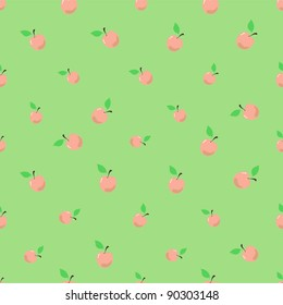 vector pattern of pink apples with green leaves