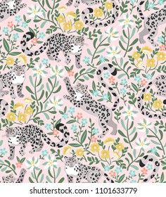 Vector pattern with playful snow leopards in Altai mountain herbs