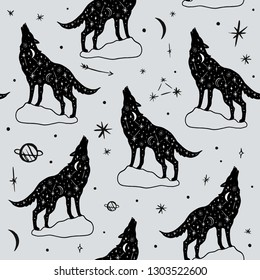 Vector pattern with polar howling wolves, moon and stars, space constellations. Beautiful wall texture with wild repeated contour animals. Ornament, cloth print. Fairytale fantasy illustration