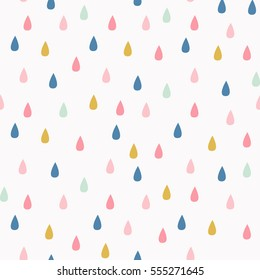 Vector pattern with rain drops. Seamless cute background in mint, mustard yellow and pink. Abstract.