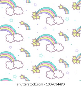 vector pattern with rainbow, children's print on clothes