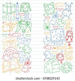 Vector pattern. School and online education. Little boys and girls play and grow together.