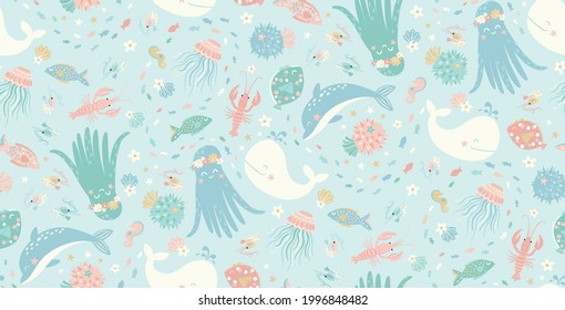 Vector pattern with sea creatures and seashells. An underwater world for kids. Pattern with cute and funny ocean inhabitants - octopus, sea horse, pufferfish, lobster, dolphin, whale,  jellyfish, crab