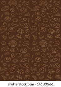 vector pattern of seamless background with bakery products