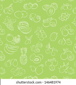 vector pattern of seamless background with fruits