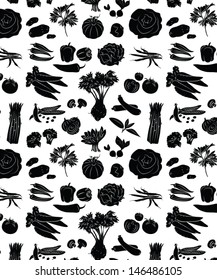 vector pattern of seamless background with vegetables in black and white