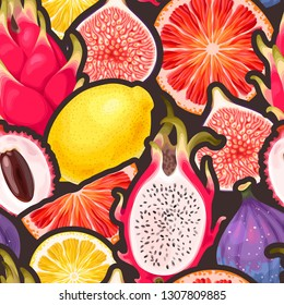 Vector pattern with seamless the exotic friut