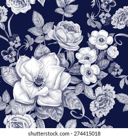 Vector pattern. Seamless natural texture with blossom garden flowers peonies, roses, pansies, carnations, magnolia. Hand drawn. Black and white. Vintage. Victorian style.