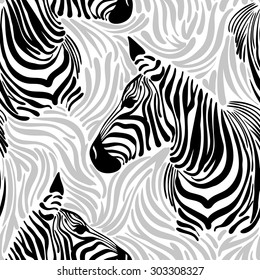 vector pattern, seamless Wallpaper animal print skins and Zebra silhouette, print face, print