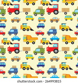 Vector pattern with set of vector cars, dumpers, loaders and tractors on light yellow background.