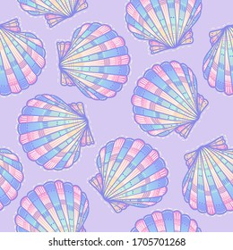 Vector pattern with shells. Beautiful  pearl gradient in delicate colors. Rainbow overflow is ideal for textiles, postcards and other products.