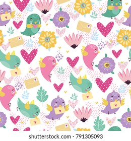 vector pattern of St. Valentine's Day. loving birds with love letters. use for texture, background of the background, wallpaper