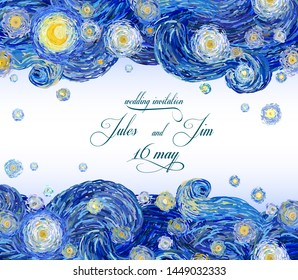 Vector pattern of starry night sky with glowing yellow moon and with blank central space in Van Gogh impressionist painting style suitable for anniversary cards or banners.