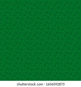 Vector pattern for St.Patrick day. Clover leaves on twisted curved stems on a green background