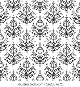 Vector pattern of stylized lotus flowers