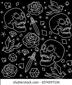 vector pattern tattoos old school, vector EPS 10