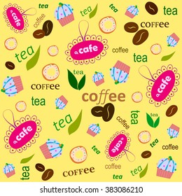 Vector pattern. The text of coffee, tea. Background yellow. Suitable for cafes.