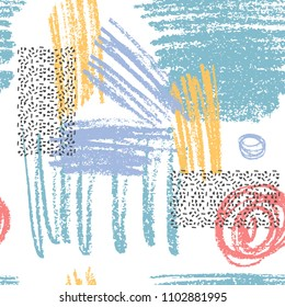 Vector pattern with textured scribbles and stamps. Messy hand drawn print.