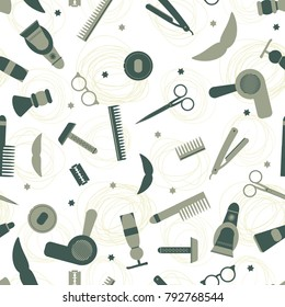 vector pattern of tools for a male hairdresser. barber shop