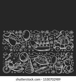 Vector pattern with toys for little kindergarten children. Dinosaur, teddy bear, rocket, ship, airplane, balloon, car, motorcycle, truck.