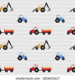 Vector pattern of tractors. Children's cute pattern with tractors of different colors. Blue, red, yellow. bulldozer, excavator, tractor with trailer.