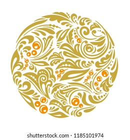 Vector pattern in traditional russian folk style in gold color isolated on white background. Khokhloma ornament and pattern