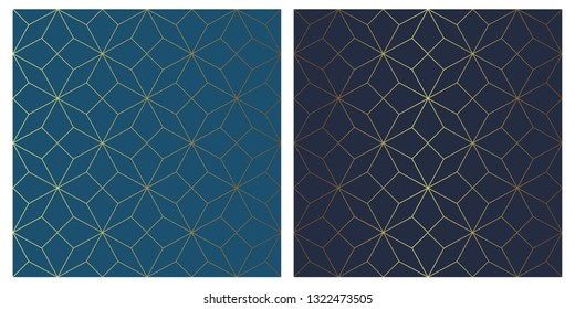 Vector pattern with traditional star and golden line on blue background