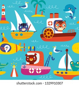 Vector pattern with transport in cartoon style. Design for children.