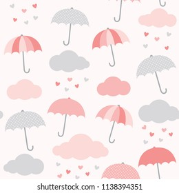 Vector pattern with umbrella, cloud and heart rain. Valentine's day seamless background. Cute design for baby girl shower.