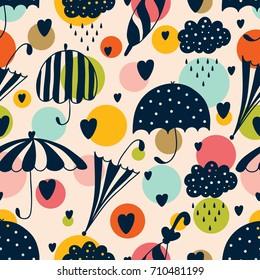 Vector pattern with umbrella, hearts and rain drop. Seamless fabric background. Beautiful abstract pattern, season illustration