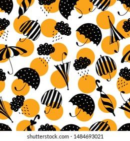 Vector pattern with umbrella and rain drop. Seamless fabric background. Beautiful abstract pattern, season illustration