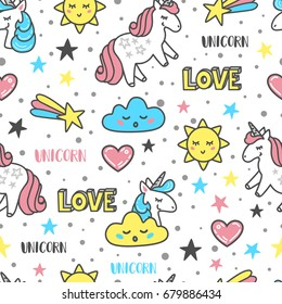 Vector pattern with unicorns, clouds, suns, hearts, stars on a white background. Perfect for wallpaper, fabric, wrapping paper, etc.