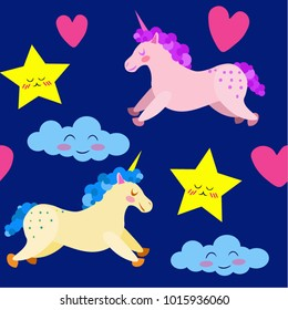 Vector pattern with unicorns, heart, star and cloud.
