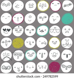 vector pattern with unique circles and smiles