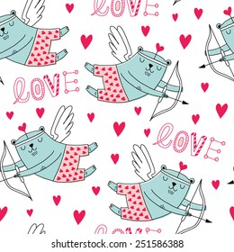 vector pattern for Valentine's Day, flying cupids Bears