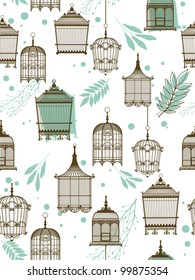 Vector pattern with vintag birdcage