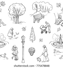 Vector pattern walk in the park, Sketches on a white background