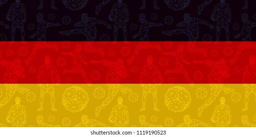 vector pattern wallpaper sport soccer players national flag germany wallpaper background football championship  elements symbols objects set equipment concept